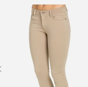 Denim - Classic Stretch Knit Skinny Pants in Khaki